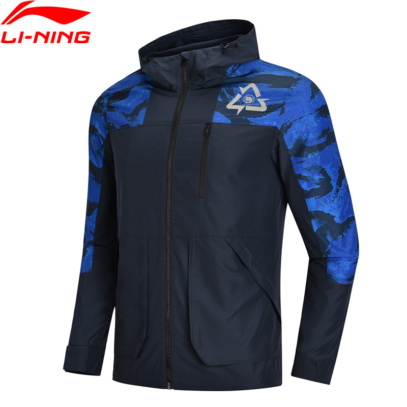 Li Ning Men Basketball Windbreaker AT PROOF WIND 100 Polyester Regular Fit LiNing Sports Dust Coat