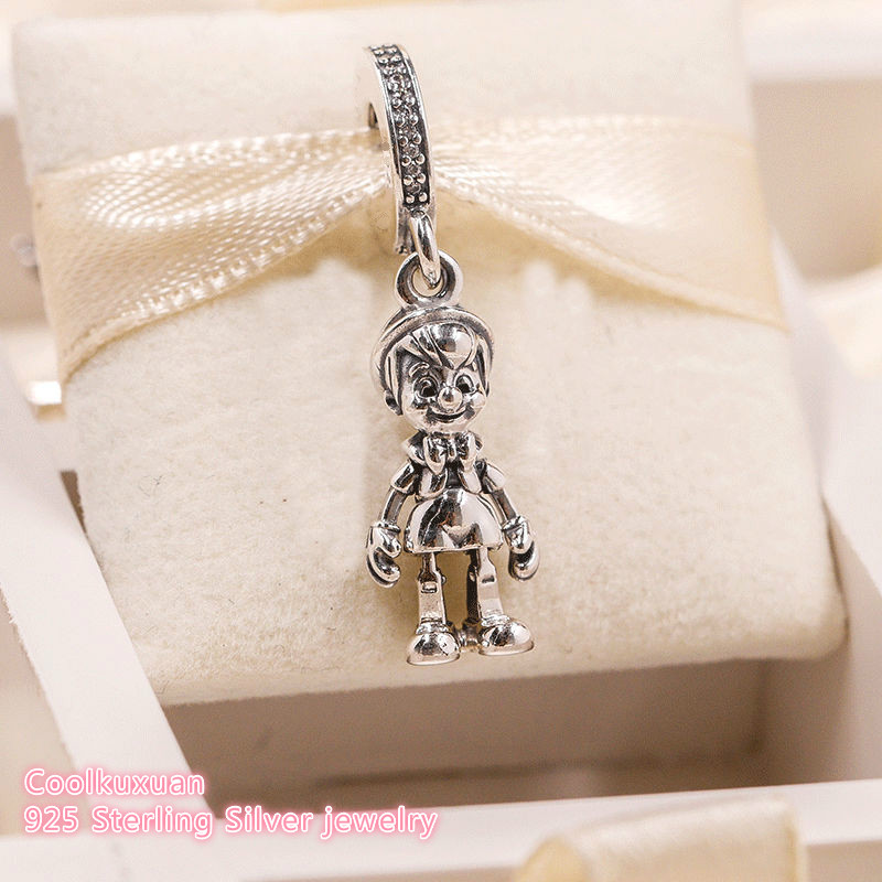 100% 925 Sterling Silver Pinocchio Dangle Charm, Clear CZ Beads Fit Original Brand Charms Bracelet Jewelry Making 2018 Autumn