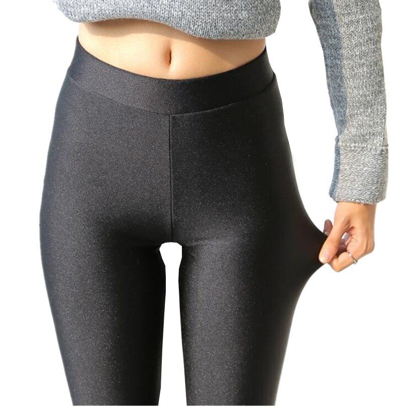 VIIANLES Neon Leggings Women Multiple Color Black Legging Skinny High Elastic Pants Casual Fluorescent Shiny Pant Leggings
