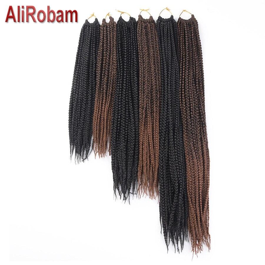 "AliRobam Medium Box Braids Crochet Hair Extensions 14"" 18"" 22"" Ombre Kanekalon Synthetic Braiding Hair Bulk Crochet Braids"
