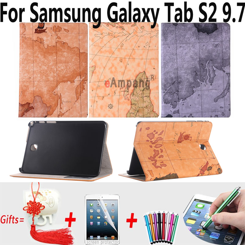 For Samsung Galaxy Tab S2 9.7 Case T810 T815 Tablet Accessories Case for Samsung Tab S2 9.7 Retro Map Smart Cover for Tab S2