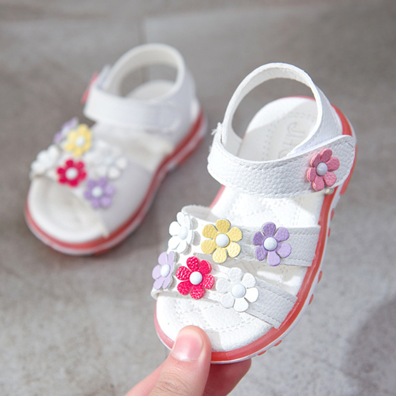 NEW 1pair Flower Kids Sandals Leather Shoes Super Quality Baby Girl Sandals+age 0-2 Years Old Cute Lovely Pink