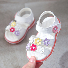 NEW 1pair Flower Kids Sandals Leather Shoes Super Quality Baby Girl Sandals+age 0-2 Years Old Baby Cute Lovely Sandals Pink