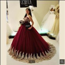 cecelle 2019 Burgundy Ball Gown Wedding Dresses Bridal Gown