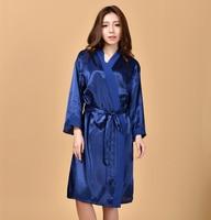 Marine Bleu de Femmes Sexy Kimono Yukata Bain Robe En Mousseline de Soie Rayonne chemise de Nuit Solide Couleur De Demoiselle D'honneur De Mariage Robes Une Taille