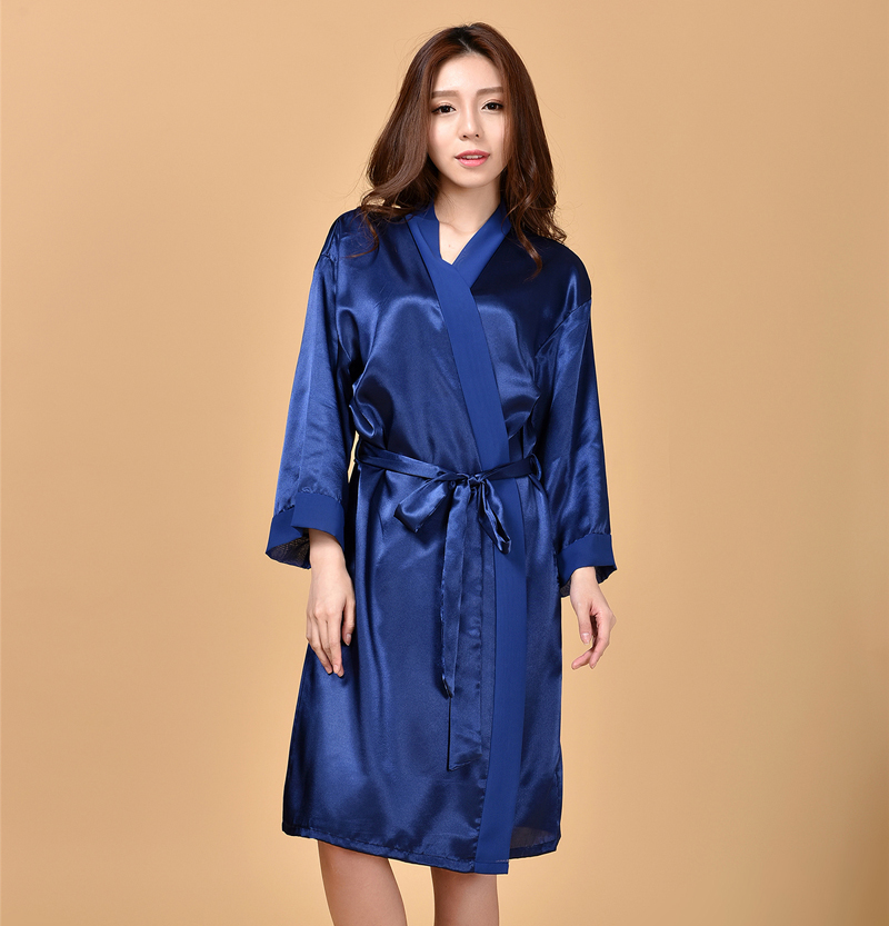 Navy Blue Womens Sexy Kimono Yukata Bath Gown Rayon Chiffon Nightgown Solid Color Bridesmaid Bride Wedding Robes One Size