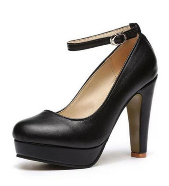 2017 Classic Moda Casual Zapatos de Las Bombas 10 cm Altos Bombas de Las Mujeres Para La Señora 3 Zapatos de Hebilla de Cuero Mate 3 Color. XXXY-272