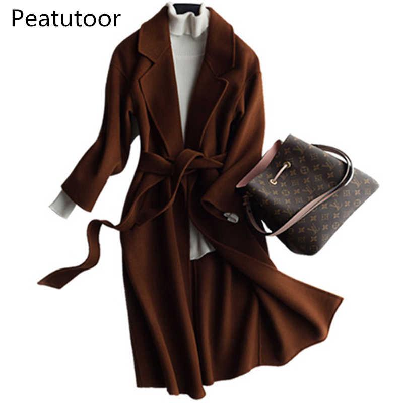 الجديد 2017 الخريف الشتاء أزياء النساء الصوف معطف طويل الأكمام التلبيب الياقة مزدوجة النسيج الإناث الصوفية المعاطف عارضة سترة أنيقة