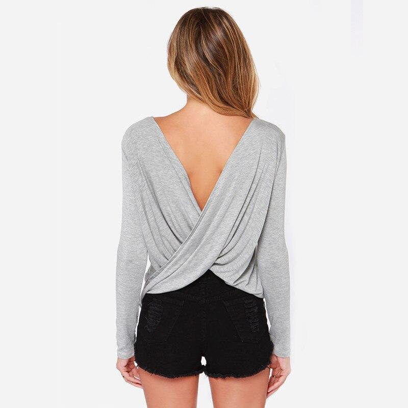 2016 סקסי עם קפלים החולצה מאחורי הצלב אופנה שסע מחשוף סלים בסיסי החולצה העליון.