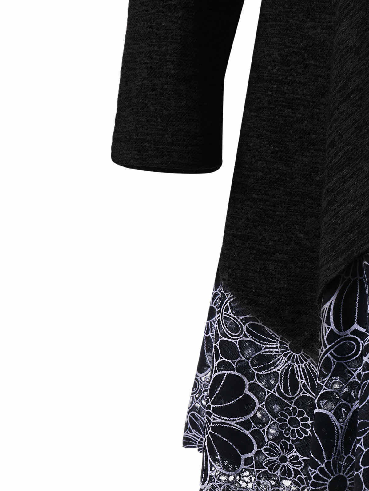 Gamiss プラスサイズカウルネックレース編み長袖ビッグサイズ秋の女性ディープグレー Tシャツトップスボタン修飾語服トップ