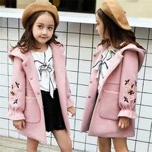 Шерстяное пальто для девочек г. Осенняя плотная детская одежда для девочек осенне-зимняя одежда детское шерстяное пальто с капюшоном больших размеров