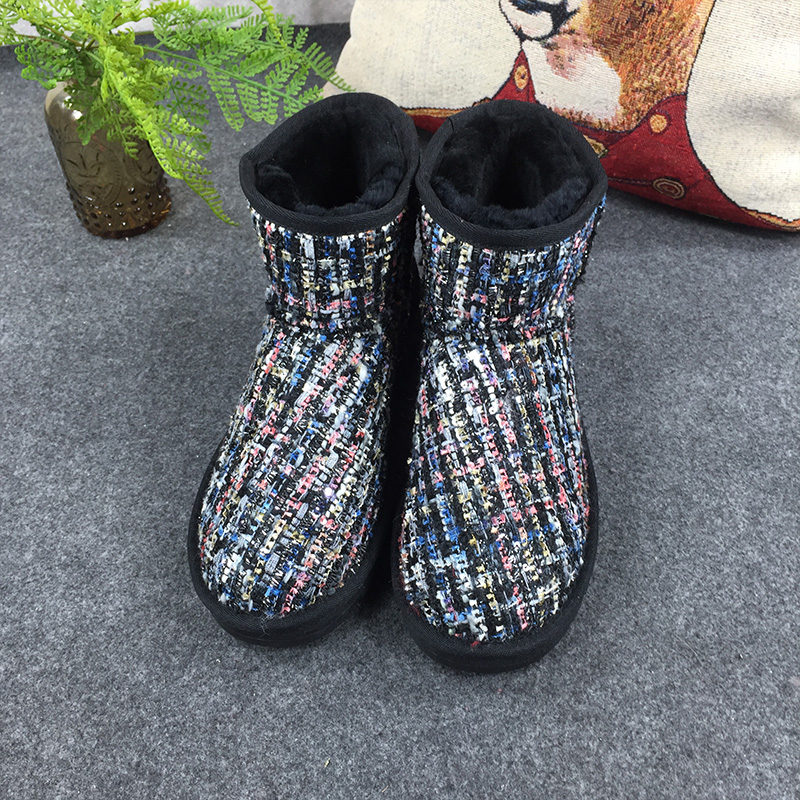 GXLLD Hot Sale Shoes Women Boots Leather Gold Velvet pattern Waterproof Cute Women Snow Boots Round