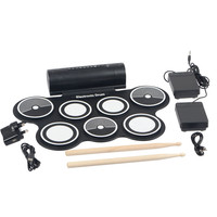 Musical Instruments Electronic Portable Drum Pad Kit Digital USB MIDI Roll Up 7 Pads With Stick