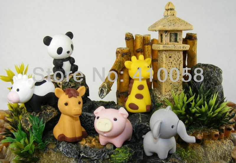 Free Shipping 44 PCS Cute Animal  Eraser  Lovely Small Animals Eraser   For   Stationery Collection Wholesale Price