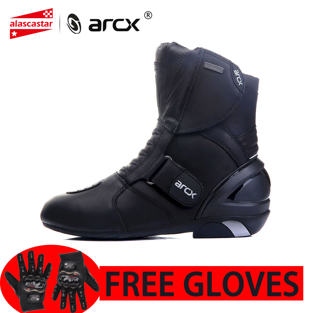 ARCX Motorcycle Boots Genuine Cow Leather Waterproof Street Moto Racing Boots Highway Road Boots Moto Shoes