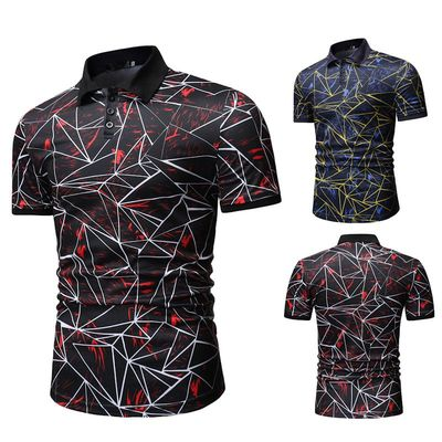 2019 summer Men Short Sleeve Cotton   Polo   Shirts Men's Elastic Clothing Sportwear man Casual fashion printed   POLO   shirt