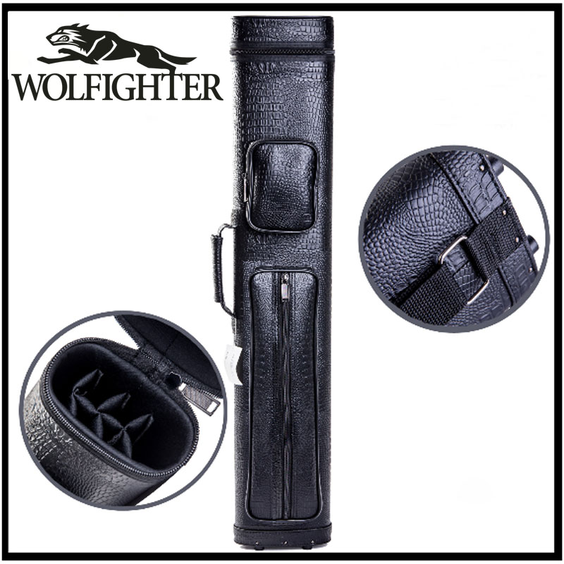 WOLFIGHTER High Capacity 2 Butts 4 Shafts Waterproof Pool Cue Case Black 8 Black Color China