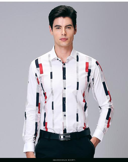 Envío de la nueva llegada de manga larga del otoño del resorte de los hombres camisa de moda de vacaciones coreana delgada camisa de vestir informal