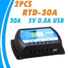 2PCS RTD-30A  Solar Charger Controller 30A 12V 24V Auto PWM LCD Regulator for Max Input 50V Solar Panel System Use Brand New