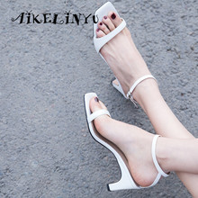 AIKELINYU Summer Sandals Genuine Sheepskin Buckle Strap Handmade Woman Shoes Simplicity Office Comfortable Lady Black