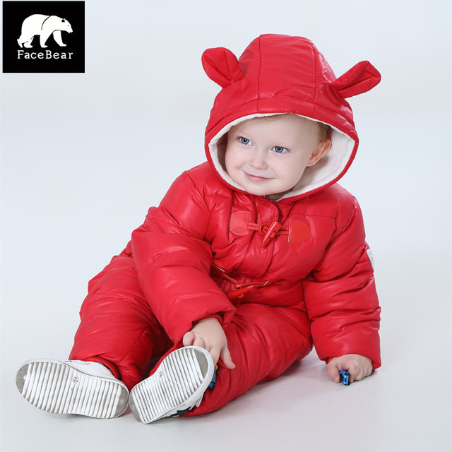 Brand Orangemom Thickened winter baby snowsuit , baby boy jacket down snow wear , 0-3Y baby clothing Waterproof  jumpsuit  glove