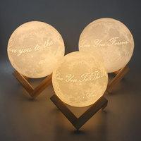 Customized 3D Printed Moon Light Double Colors Or 16colors Novelty Home Romantic Decoration 12CM 15CM 20CM