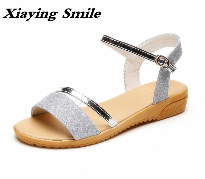 Xiaying Smile Summer Woman Sandals Platform Wedges Heel Women Pumps Buckle Strap Sequined Cloth Sweet Lady Style Women Shoes xiaying smile summer woman sandals fashion women pumps square cover heel buckle strap bling casual concise student women shoes