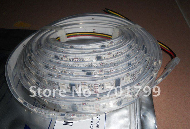 5m led digital strip,DC5-9V input,LPD8806 IC;24pcs IC and 48pcs 5050 SMD RGB each meter;IP68
