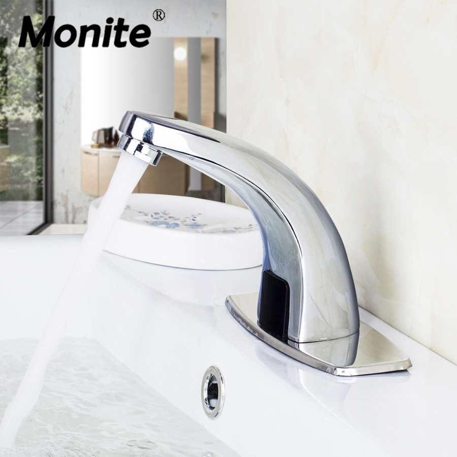 Monite Automatic Faucet Hand Touch Free Sensor Automatic Electronic Mixer Sensor Tap Deck Mounted Bathroom Sink Tap Faucets new deck mounted cold automatic sensor hands faucet chromed free bathroom sink tap cold only sensor faucet chrome for bathroom