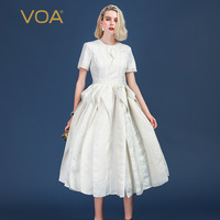 VOA Heavy Silk Jacquard White Party Dresses Women Long Dress Plus Size Slim Tunic Mid Waist Ruffles Summer Short Sleeve A501