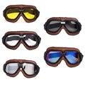 Óculos de proteção do capacete Da Motocicleta Óculos de Proteção Motociclista Piloto Do Vintage Óculos de Proteção de Couro Marrom Para A Motocicleta Da Bicicleta ATV Jet Retro Capacete Eyewear