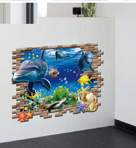 Image 2 - Dolphin Schildkröte Seastars Sea World 3D Kreative Wandaufkleber Für Home Küche Dekoration DIY Wandaufkleber Blaue Decor