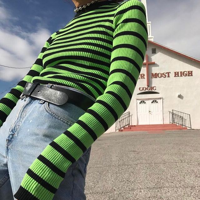 3bbc2331c139a1 Unif Harajuku Contrast Striped Runway Sweater Black   Green Color Block Ribbed  Knit Slim Tops Sweater Women Pullovers