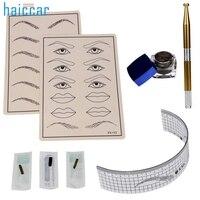 Mulheres bonitas Microblading kit Sobrancelha Tatuagem Maquiagem Permanente Caneta Agulha Pasta Pele Governante De Outubro de 14