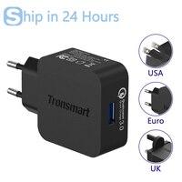 Tronsmart wc1t usb 충전기 퀄컴 인증 빠른 충전 3.0 qc3.0 usb 스마트 충전기 xiaomi samsung lg 전화 eu/미국/영국 유형
