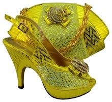 FREIES VERSCHIFFEN! mode frau passende schuh-und taschensatz für hochzeit und partei, hochwertigen italienischen design, Size38-42 gelb! HQJ1-15