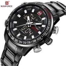 NAVIFORCE นาฬิกาข้อมือควอตซ์ Mens นาฬิกาแบรนด์หรูกีฬาทหารนาฬิกาผู้ชายนาฬิกาสแตนเลสกันน้ำ relogio masculino