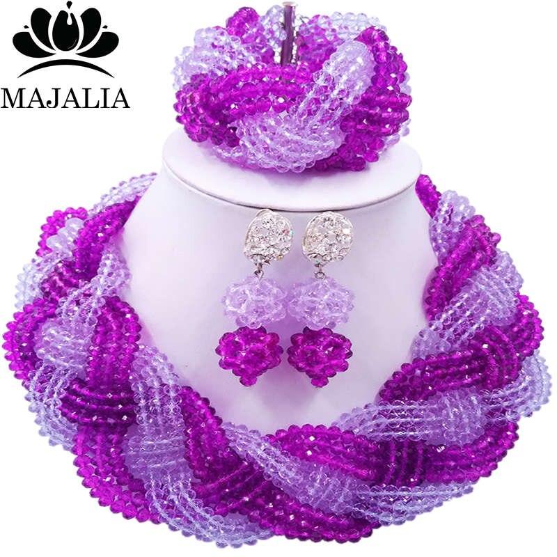 Majalia African Fashion Women Jewelry Set Purple lilac Nigerian Wedding Jewelry Beaded Sets 12CB0011 majalia african fashion women jewelry set royal blue nigerian wedding jewelry beaded sets 12cb006
