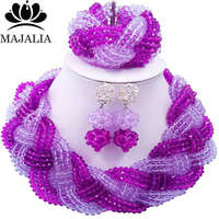 Majalia African Fashion Women Jewelry Set Purple lilac Nigerian Wedding Jewelry Beaded Sets 12CB0011