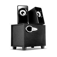 Computer USB Subwoofer Audio Notebook Wooden Speaker with Deep Bass USB Wired Powered 2.1 3 Channel Active Multimedia Speaker