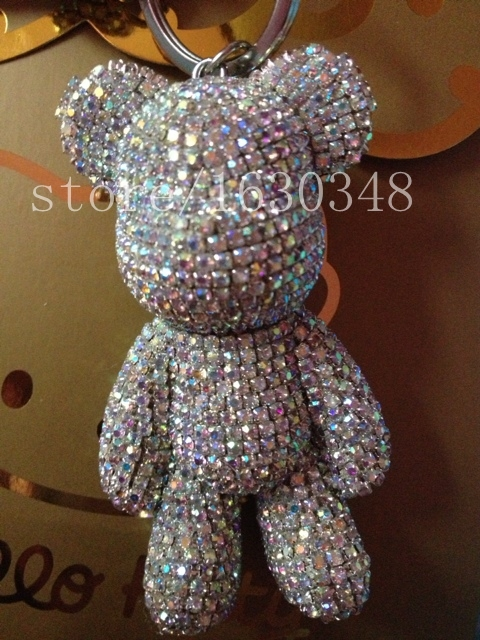 AB rhinestone bear bag charm crystal bear keychain sparkly bling out bear  charm you can customize DIY any rhinestone color b4ff8e0ee1ce