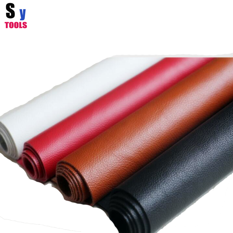 100% New Multicolored Soft whole piece leather 50*50cm white/black/brown/red colors Litchi pattern