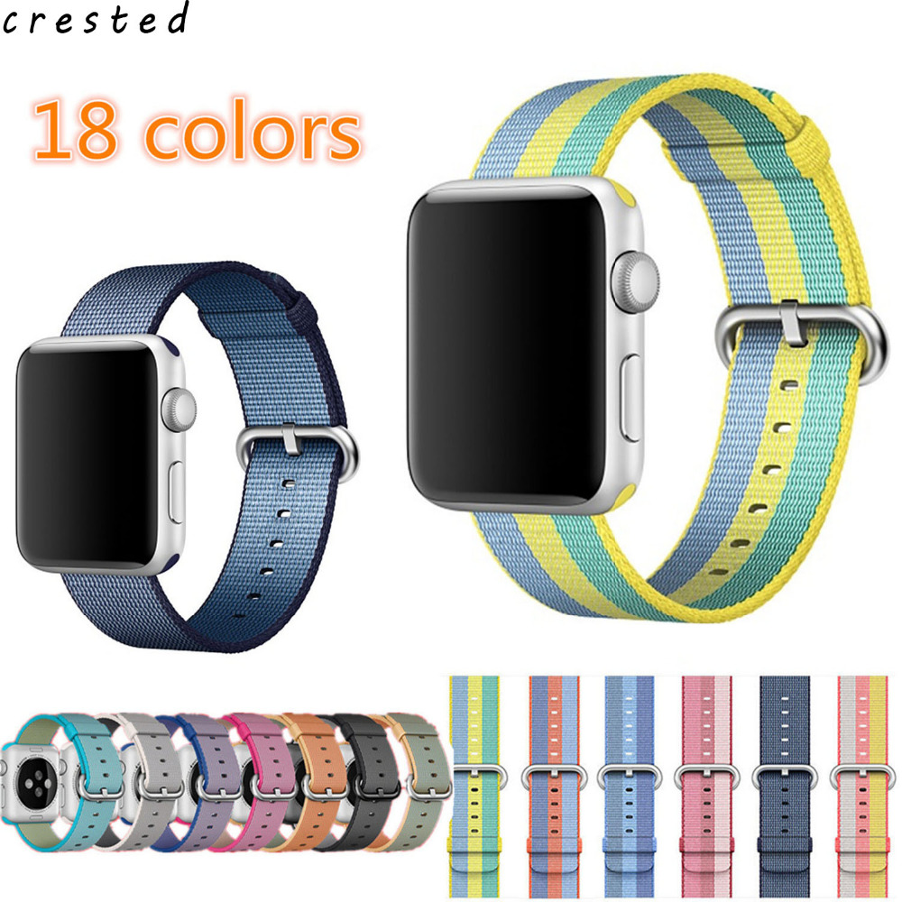 CRESTED Woven Nylon strap For apple watch band 42 mm/38 Sport wrist bracelet Fabric-feel metal bucket belt for iwatch 1/2/3 survival nylon bracelet brown