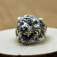 Real Pure 925 Silver Rings Cool Vintage Tiger Rings In Fijne Sieraden For Men Adjustable Cool Viking Jewelry Bague Homme