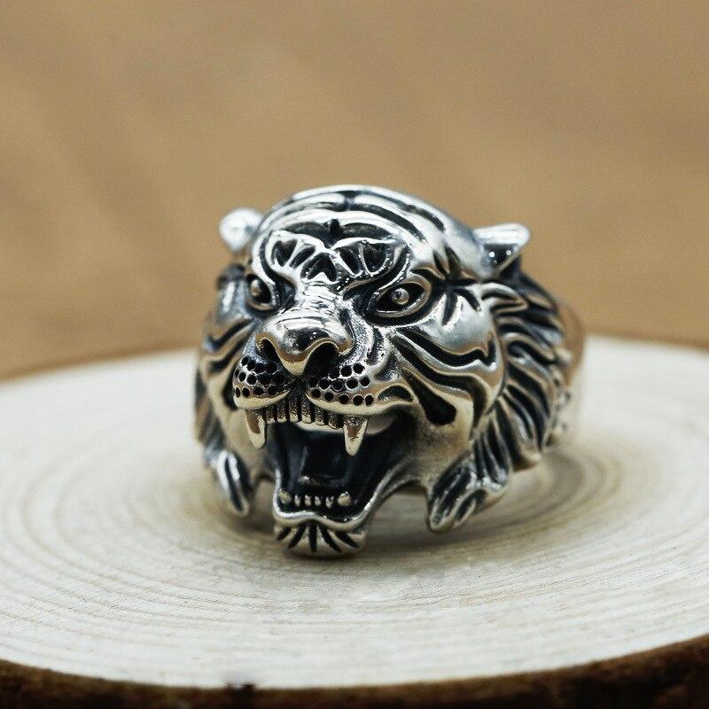 Véritables bagues en argent 925 pur bagues de tigre Vintage Cool en Fijne Sieraden pour hommes réglable Cool Viking bijoux Bague Homme