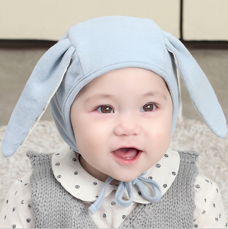 Autumn child hat long ears of newborn infant lacing ear 100% cotton pocket hat