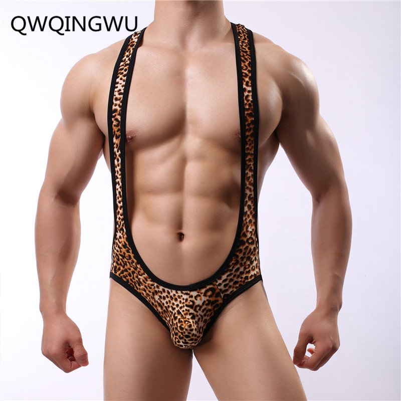 Summer Onesies Leopard Printing Sexy Male Pajama Adult Onesies Fashion Vest Shorts Underwear Sets Onesies Jumpsuit For Men