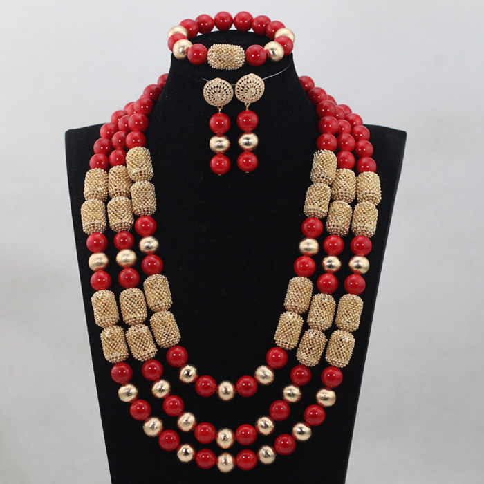 Luxury Dubai Costume Gold Women Jewelry Sets Red African Jewelry Sets Wedding Nigerian Coral Beads Necklace Set ABH167 stonefans rosered dubai jewelry sets for women in nigerian wedding set prom necklace rhinestone necklace and earing sets wedding