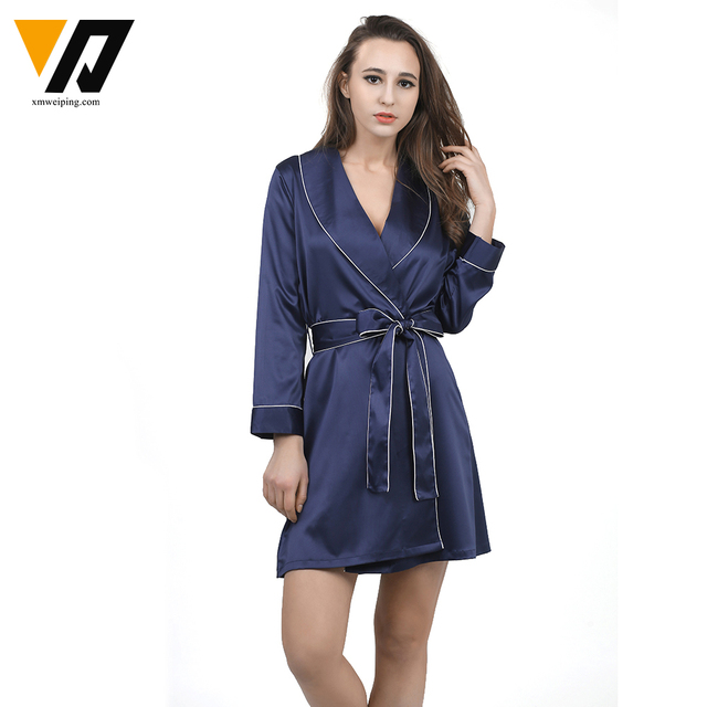 High Grade Sexy Women Bathrobe Satin Chiffon Robe Solid Spring Summer Home Clothes Sleepwear Bath Robes Women's Dressing Gown