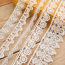 купить White Lace Trim Fabric DIY Embroidered for Sewing Decoration Satin Lace Ribbons Fabric Material By Meters For Crafts Assorted недорого